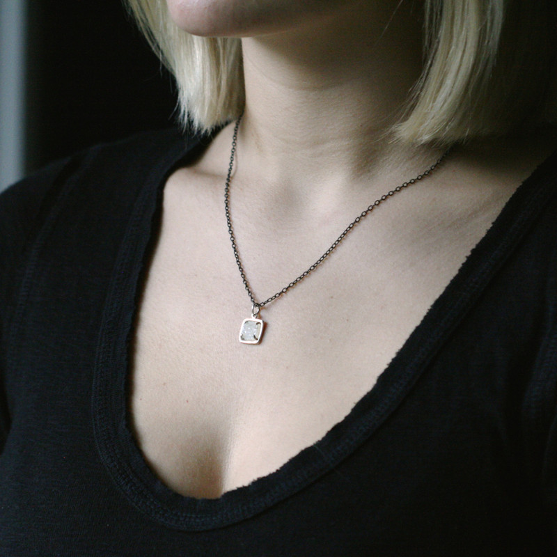 Druzy Square Small Sterling Silver Charm on Black Chain