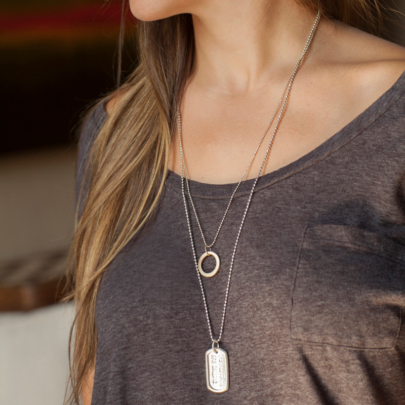Large Dog Tag Silver THE MOUNTAINS ARE CALLING