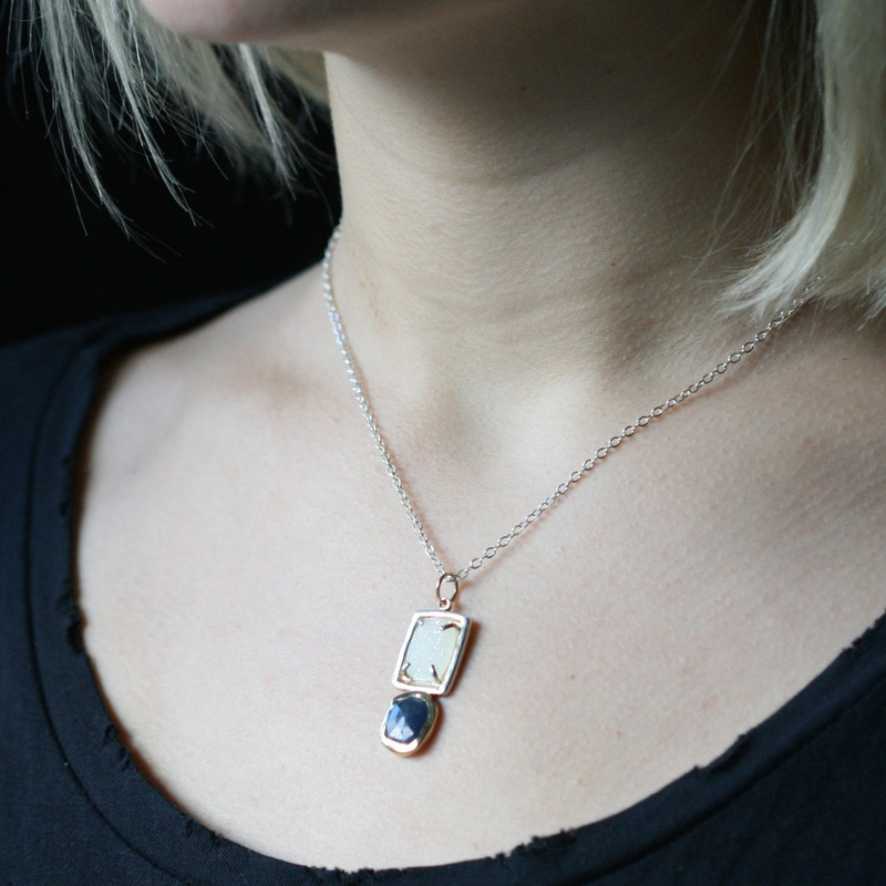 GemDrop Blue Sapphire and Druzy Necklace One-of-a-Kind