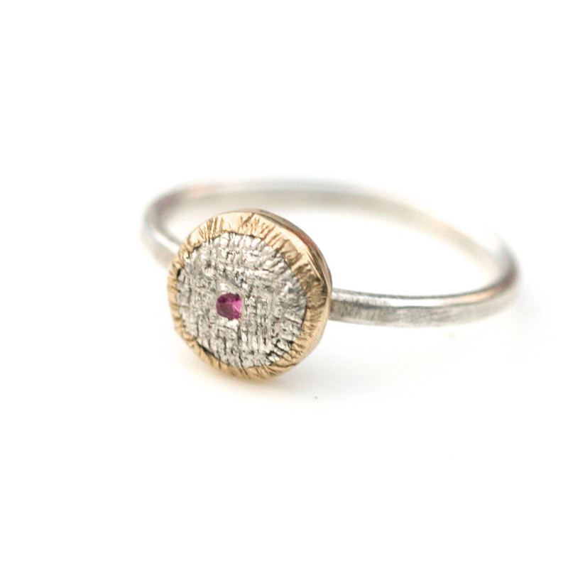 Silver and 14kt Gold Pink Sapphire One of A Kind Ring