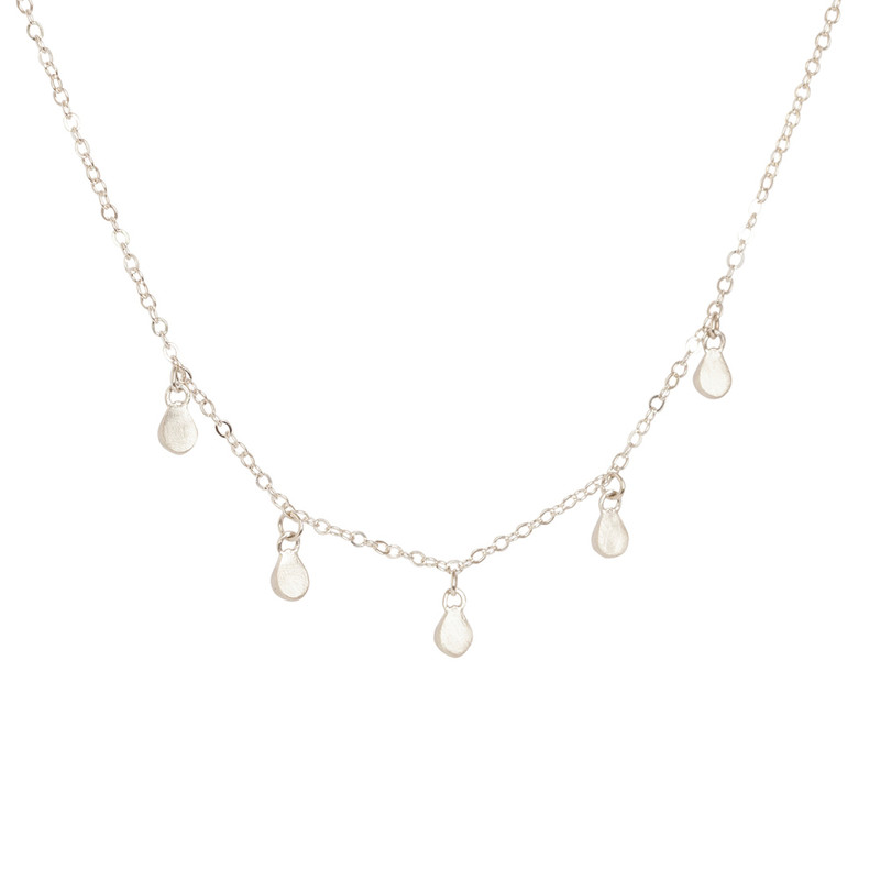 NEW 5 Teardrop Dangle Necklace Silver or Gold