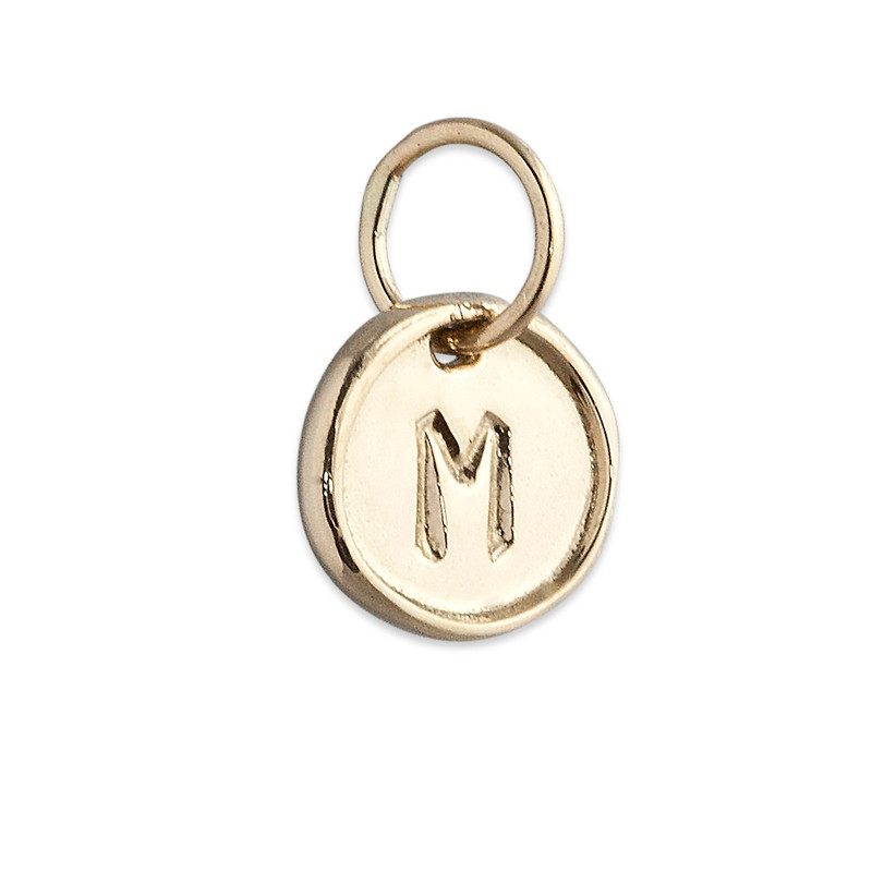 Tiny Disc Charm Silver or Gold Personalized