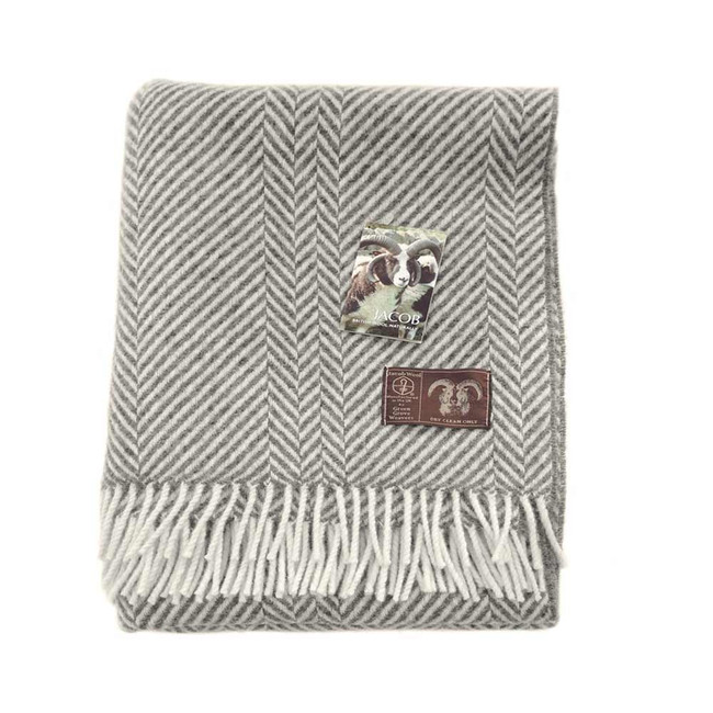Jacob Wool Gray Chevron Blanket