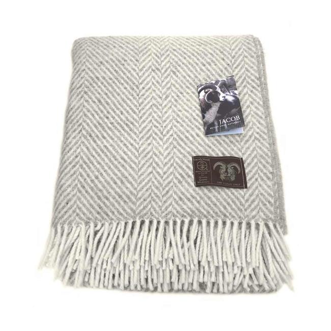 Jacob Wool Silver Chevron Blanket