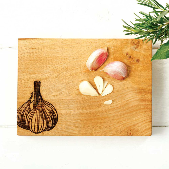 Wooden Chopping Board with Garlic Detail