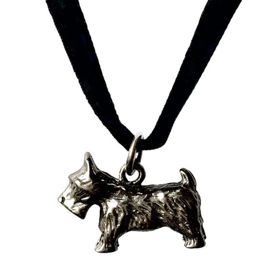 Sterling Silver Scottie Necklace (with black satin ribbon)