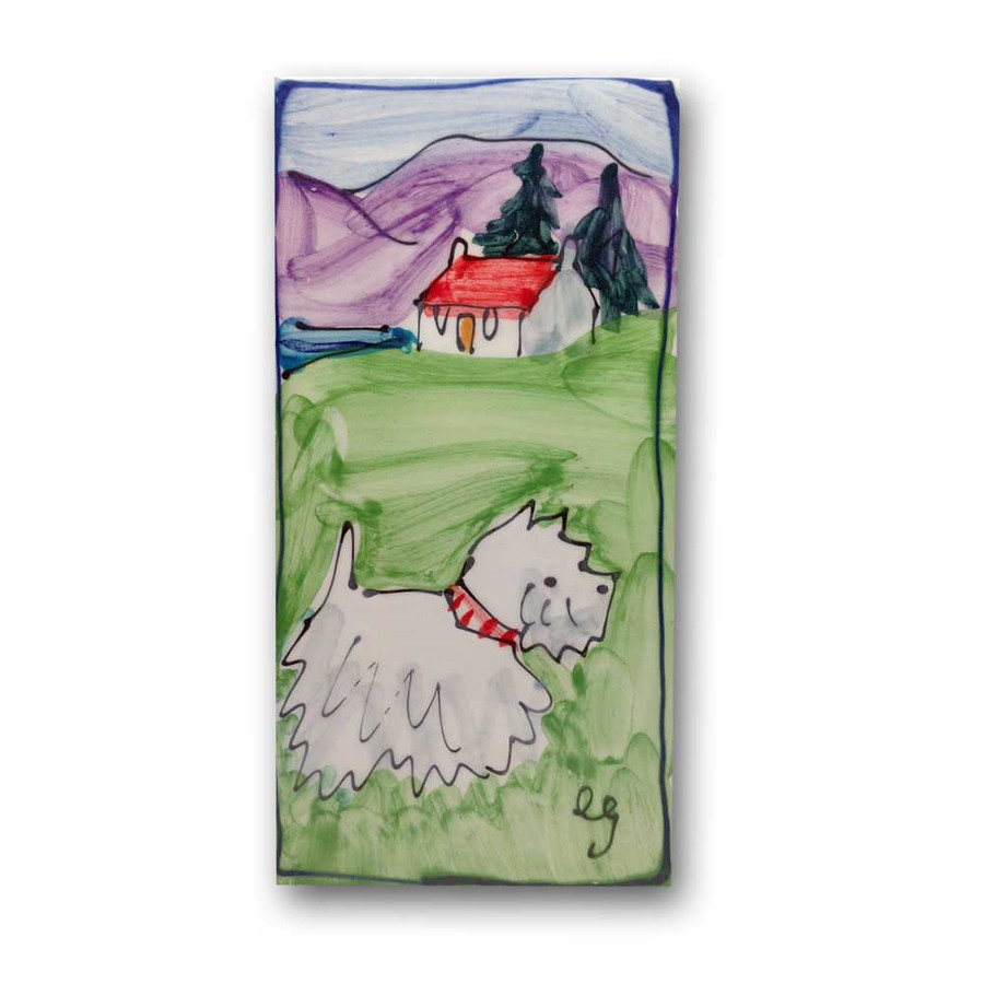 Westie Dog Hand Painted Ceramic Tile