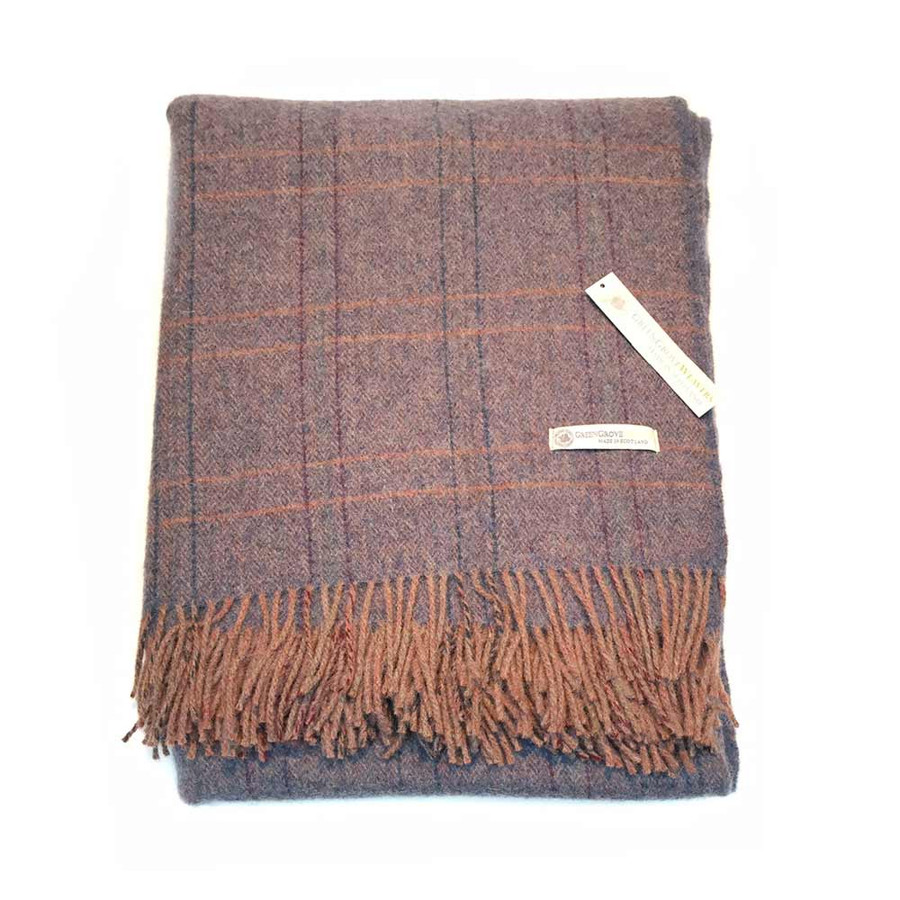 Wool Tweed Blanket in Denim and Brown Herringbone