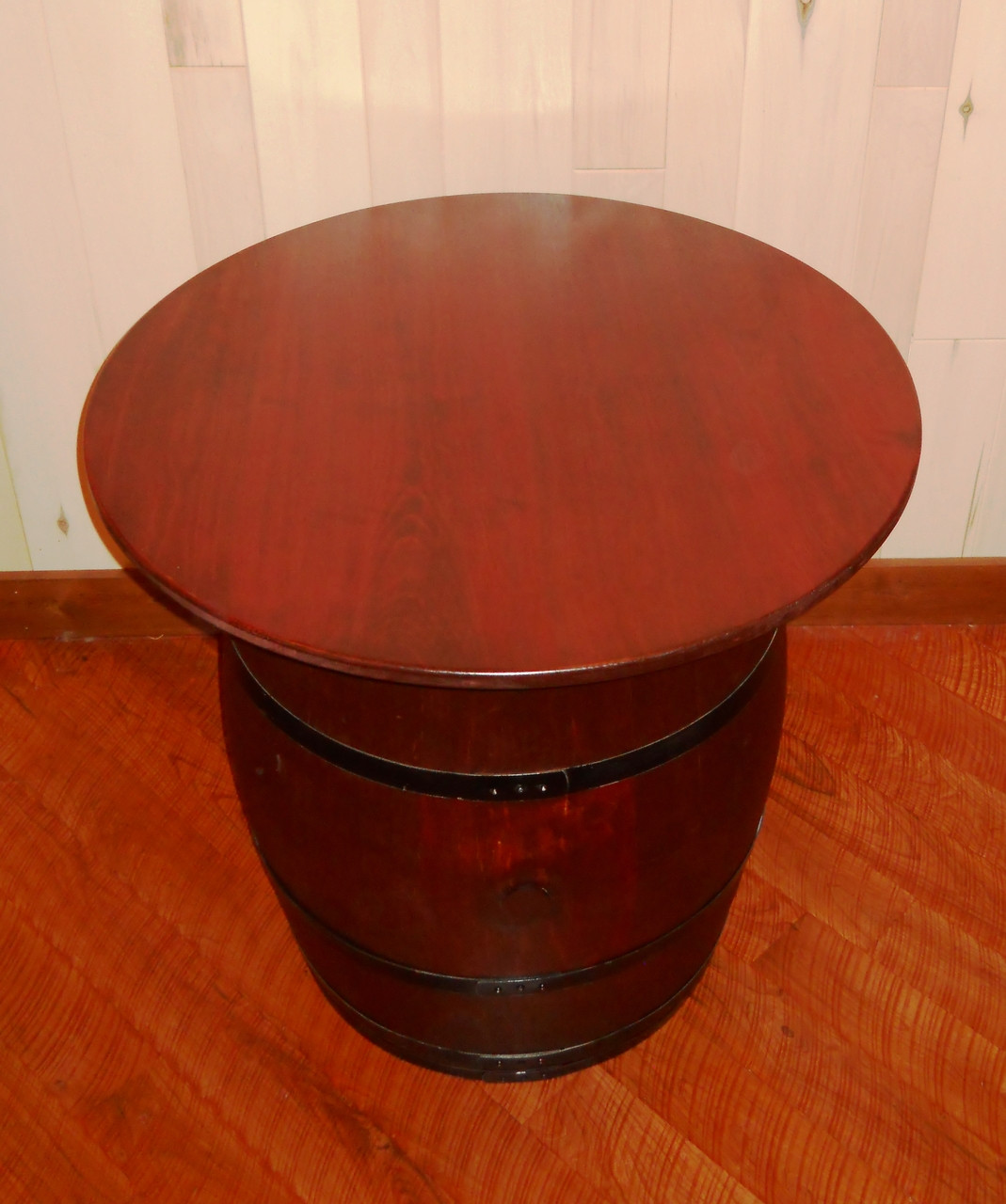 Wine Barrel Pub Table   Antiqued Barrel
