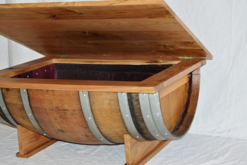 Wine Barrel Coffee Table with lift up top Custom Wine Barrel