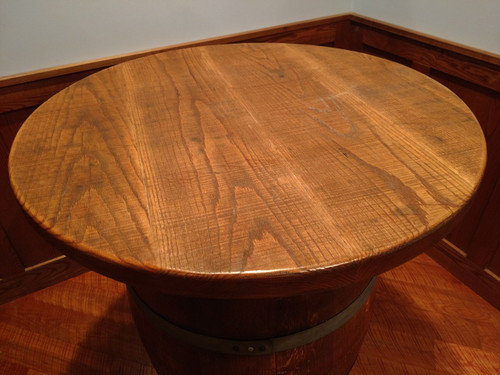 Wine Barrel Pub Table With Rough Sawn Top Twisted River Woodworks