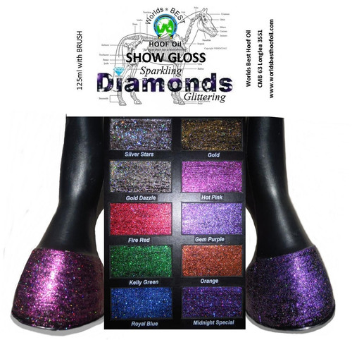 Worlds Best Hoof Oil Show Gloss Diamonds