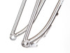 Thru-Axle 135mm Truss forks. Jones designed dropouts – chamfered for easier wheel insertion. Machined and shaped for minimal width while still strong.