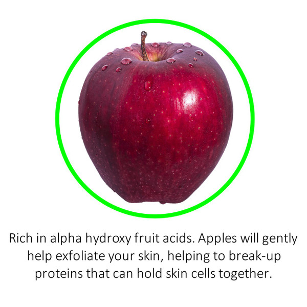 Rich in alpha hydroxy fruit acids. Apples will gently help exfoliate your skin, helping to break-up proteins that can hold skin cells together.