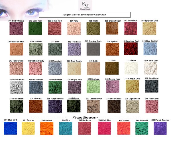 mineral eye shadow color chart