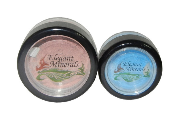 10g mineral eye shadow jar on left,  5g mineral eye shadow jar on right.