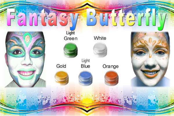 """Set of 10 x 8pc Natural Face Paint """"Fantasy Butterfly"""" Halloween Costume Makeup Kit"""