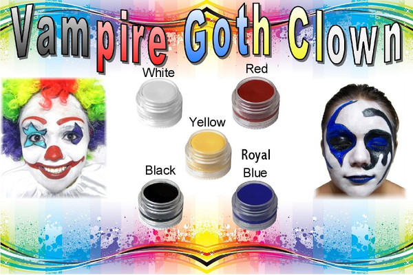 "Set of 10 x 8pc Natural Face Paint ""Vampire Goth Clown"" Halloween Costume Makeup Kit"