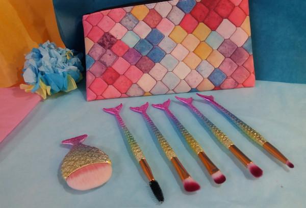 7pc VEGAN Professional Mermaid Brush Set & Bag