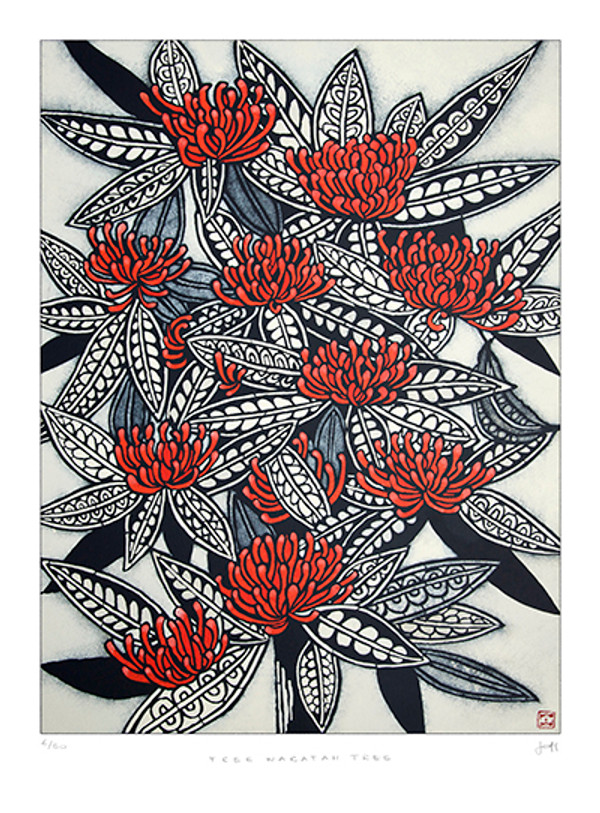 tree waratah tree: 605mm x 820mm (printed image size 525mm x 695mm)
