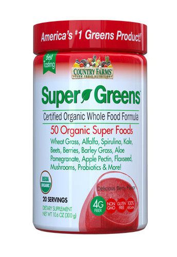 Country Farms Super Greens Drink Mix Berry - 20 Servings