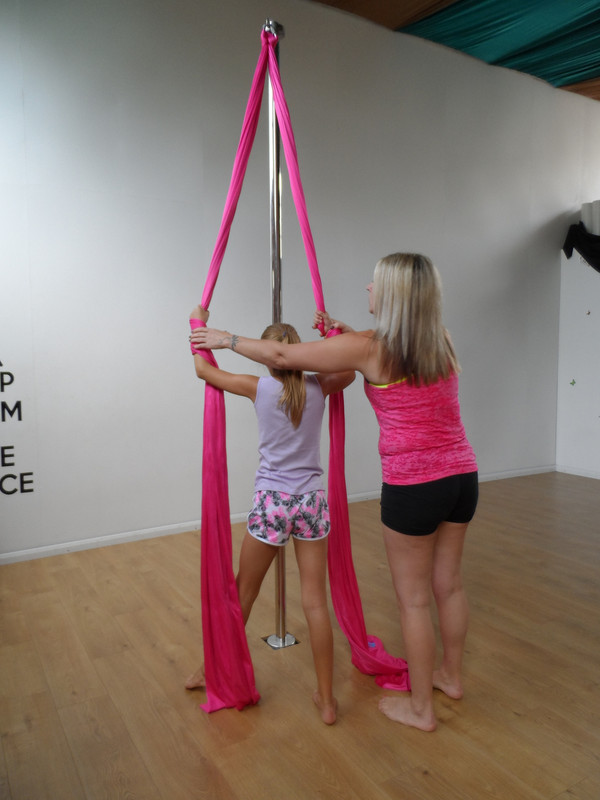 Sue Colebourne teaching PoleSilks at here studio 'Studio Deplacer' in Derby UK