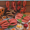 a collection of bratwurst and sausage