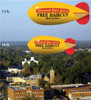 Advertising blimps and helium advertising balloons are ideal for outdoor advertising, grand openings, trade shows, marketing displays, promotional exhibits and any event requiring height visibility for indoor or outdoor attention. Our high-flying products are backed by decades of design innovations. All of our promotional blimps and promotional balloons are designed to be light weight, durable and easy to fly (with a 135' tether line). We are especially proud of our line of high performance helium blimps. Helium required to fly our products can be supplied by your local welding supply company. It is important to note that all of our products are made of material which has been specially formulated for strength and helium holding qualities and is excellent for the application of lettering and artwork with vinyl, paint or digital printing.