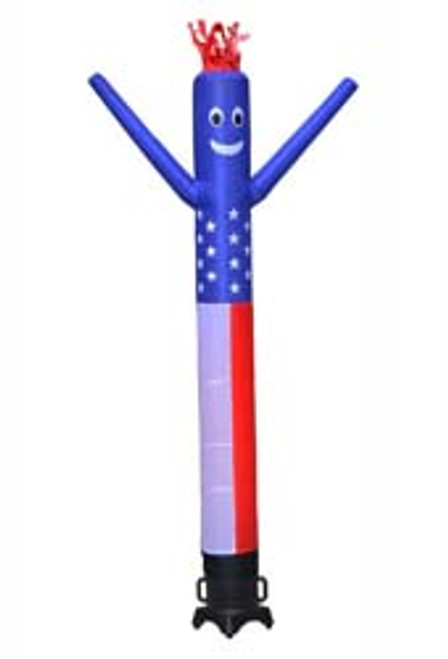 American Flag Inflatable Air Dancer 10ft tall attachment.  This 10ft tall and 12inch in diameter American Flag air dancer attachment is ideal for any retail location.  Great for spreading the word of your businesses sale or promotion.  It's impossible to drive by this dancing inflatable air dancer and not look.