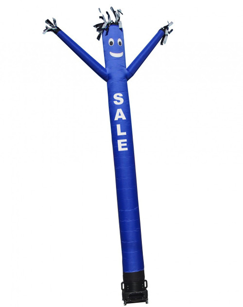 """Blue SALE air dancer (as pictured). This 20ft tall blue air dancer has the word """"SALE"""" embroidered to the body in bold white letters (longest lasting method for adding letters). This dynamically dancing inflatable advertising air dancer product will promote your businesses sale like no other product or service can. Get your business or event noticed today with the use of inflatable advertising air dancer products"""