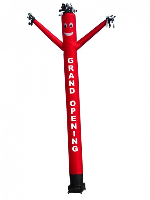 """Grand Opening air dancer (as pictured). This 20ft tall red color air dancer has """"GRAND OPENING"""" embroidered to the body in bold white letters (longest lasting method for adding letters). This inflatable dynamically dancing advertising product will promote your business like no other product or service can. Get your business or event noticed today with the use of inflatable advertising air dancer products"""