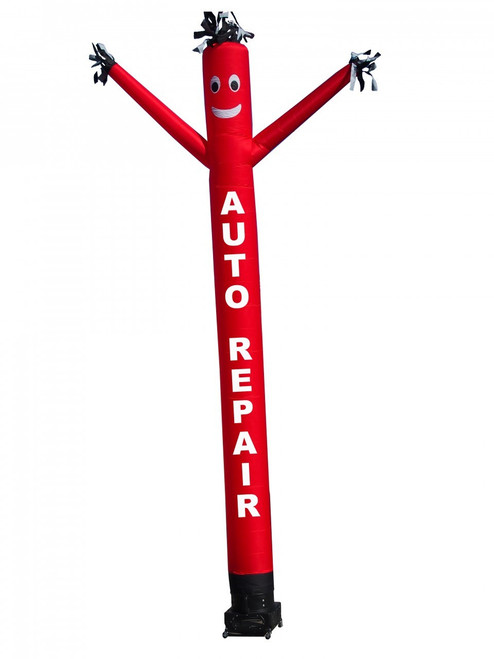 "AUTO REPAIR air dancer.  This red color air dancer has the letters ""AUTO REPAIR"" embroidered to the body in white letters (longest lasting method).  This inflatable advertising product will promote your business like no other product or service can. Get your auto repair business noticed today with the use of inflatable advertising products"