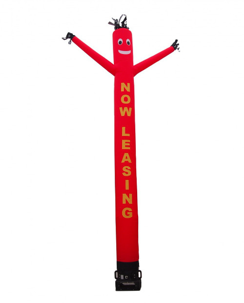 """Now leasing air dancer with red body and yellow letters.  This red color air dancer has the letters """"NOW LEASING"""" embroidered to the body in bold yellow letters (longest lasting method for adding letters). This inflatable dynamically dancing advertising product will promote your business like no other product or service can. Get your business or event noticed today with the use of inflatable advertising air dancer products"""