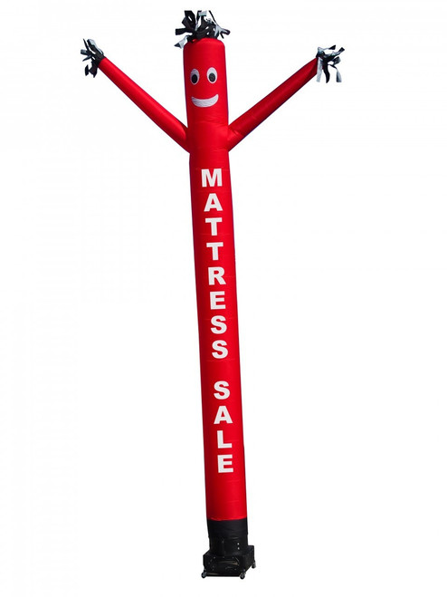 """Tax air dancer (as pictured). This 20ft tall red air dancer has the words """"MATTRESS SALE"""" embroidered to the body in bold white letters (longest lasting method for adding letters). This dynamically dancing inflatable advertising air dancer product will promote your Mattress and furniture like no other product/service can. Gain exposure for your furniture and mattress retail business today with the use of inflatable advertising air dancer products."""