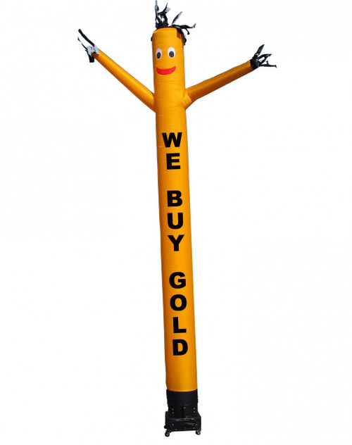 """We Buy Gold air dancer by Go Big Advertising  (as pictured). This 20ft tall yellow color air dancer has black letters """"WE BUY GOLD"""" embroidered to the body (longest lasting method for adding logos & letters). This inflatable dynamically dancing advertising product will promote your business like no other product or service can. Get your business or event noticed today with the use of inflatable advertising air dancer products"""