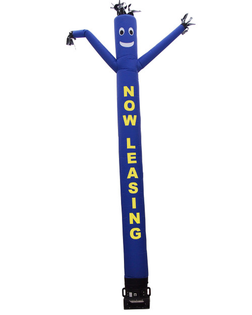 """Now leasing air dancer by Go Big Advertising  with blue body and yellow letters.  This blue color air dancer has the letters """"NOW LEASING"""" embroidered to the body in bold yellow letters (longest lasting method for adding letters). This inflatable dynamically dancing advertising product will promote your business like no other product or service can. Get your business or event noticed today with the use of inflatable advertising air dancer products"""