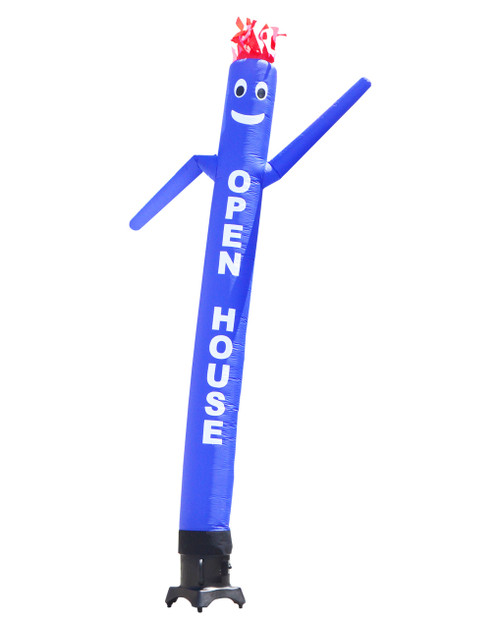 "Blue SALE 10ft tall Air Dancer attachment.  This 10ft tall blue air dancer has the word ""OPEN HOUSE"" embroidered to the body in bold white letters (longest lasting method for adding letters). The 10 foot tall and 12 inch diameter air dancer is ideal for small retail businesses with limited space. This 10ft tall dancing inflatable advertising product will promote your business or sale like no other product or service can.  Get your business noticed today with the use of inflatable advertising air dancer products. #1 brand in inflatable adverting."