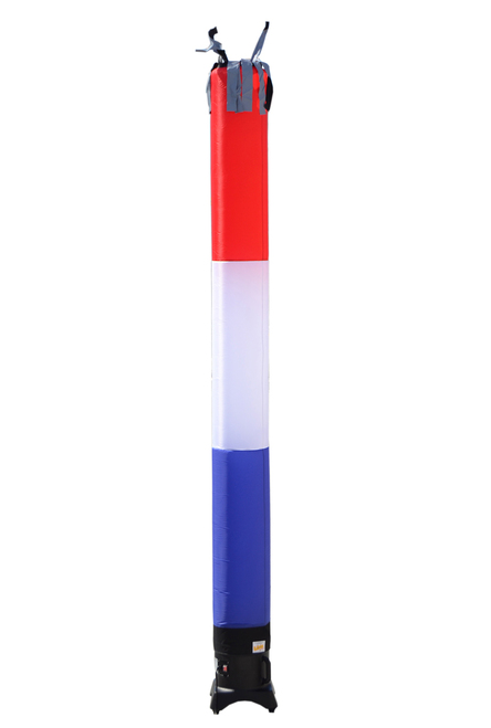 Red, White, & Blue USA Tube 10ft tall attachment. The all new 10 foot tall and 12 inch diameter air dancer is ideal for small retail businesses with limited space. This 10ft tall dancing inflatable advertising product will promote your business or sale like no other product or service can.  Get your business noticed today with the use of inflatable advertising air dancer products.