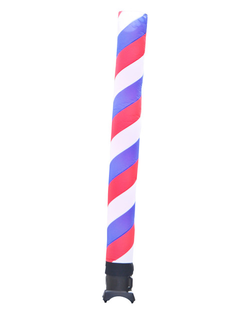 Red, White, & Blue Barber Pole Inflatable tube 10ft tall attachment.  The 10 foot tall and 12 inch diameter tube is ideal for smaller retail businesses or smaller available space at their retail location, especially a barber shop or beauty salon. This 10ft tall dancing inflatable advertising product will promote your business or sale like no other product or service can.  Get your business noticed today with the use of inflatable advertising air dancer products