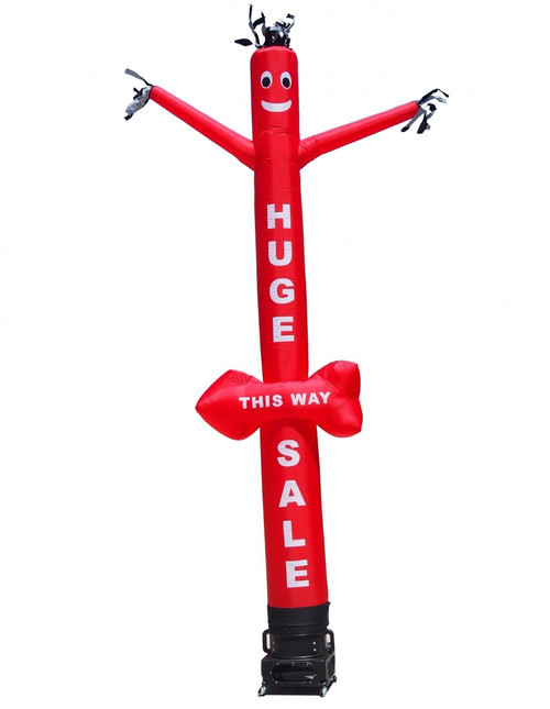 "HUGE SALE - THIS WAY"" Air Dancer with arrow shape. This inflatable air dancer will promote your business like no other product or service can. Get your businesses huge sale noticed today.  Instead of spending money on mailers, internet ads, and sign spinners, spend a small fraction of the cost and reach even more potential customers than ever before!"