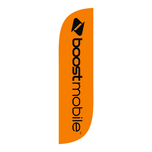 Boost Mobile Orange 5ft feather flag with new logo.  The  collection of CELLULAR feather flags will get your business sale noticed immediately. Feather flags are the most cost effective and easiest way to spread the word about your businesses sale.  In stock and ready to ship today!
