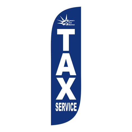 Liberty Tax blue 5ft feather flag with new logo.  The  collection of Liberty Tax feather flags will get your business sale noticed immediately. Feather flags are the most cost effective and easiest way to spread the word about your businesses sale.  In stock and ready to ship today!
