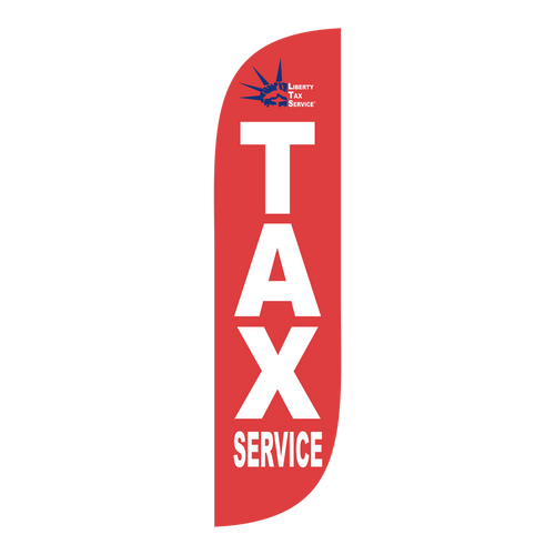 Liberty Tax red 5ft feather flag with new logo.  The  collection of Liberty Tax feather flags will get your business sale noticed immediately. Feather flags are the most cost effective and easiest way to spread the word about your businesses sale.  In stock and ready to ship today!