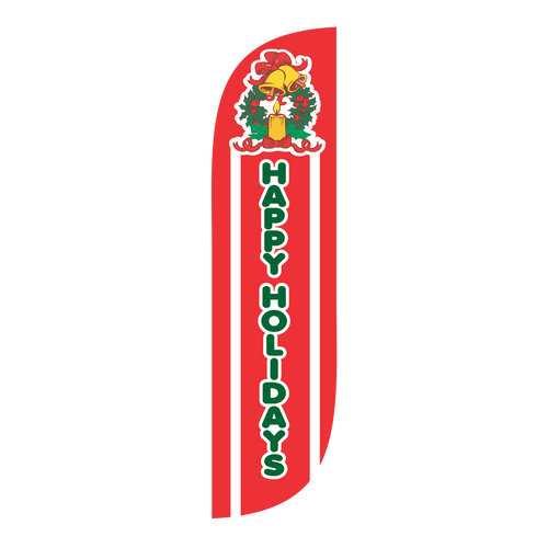 The holidays are certainly the most festive time of the year. Whether you want to convey your holiday wishes, or draw attention to your retail location's holiday themed products, say what you want to say with the  5ft Happy Holidays feather flag. The 5ft feather flag's compact profile allows for use just outside your store or even inside of a shopping mall. Where space is at a premium, the Happy Holidays 5ft feather flag will boldly keep your customers in the holiday spirit.