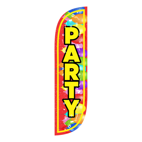 If you really want a party, buy a 5 foot Party Feather Flag with Balloons today! Nothing says a party like a feather flag covered in balloons blowing in the wind. A feather flag is the perfect way to get the word out and either show that you are having a party, or that your business has party supplies. It can also be used for so much more.  Party feather flags are the perfect addition to anything related to a party. Feather flags are a cost efficient and convenient way to get the word out there. Get your Party Feather Flag today