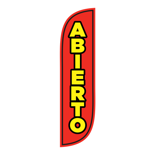 Are you Abierto (or open) and want to let the world know? A Red 5 foot Abierto Feather Flag is the perfect way to let everyone know that you are open for business. Abierto will appeal to both English and Spanish speaking individual to let them know that you are in fact open.
