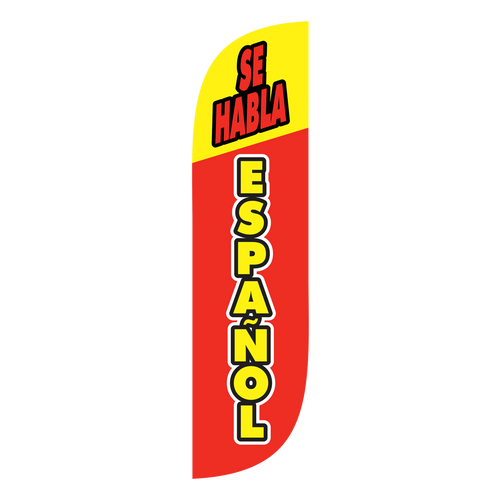 If your business wants to market that it speaks spanish, the 5 ft Se Habla Espanol  Feather Flag is perfect for you. Customers can be intimidated by the fact that a business does not speak spanish. If yours does, get the word out there with  feather flags to attract the customers you are looking for. Feather flags are a great way to advertise to the world that you Se Habla Espanol