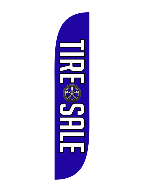 The brand new  12ft Tire Sale Feather Flag. With the bright Blue background and the tire symbol in the middle, you attract many customers and business. Pair this feather flag with matching pole set and have this stand a massive 15ft high from the ground.