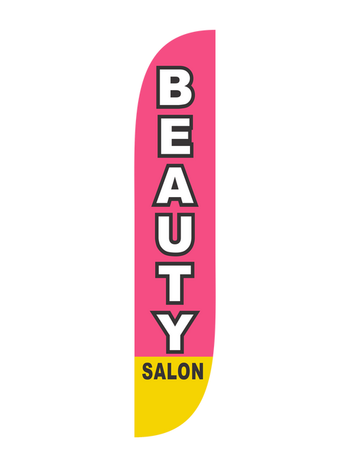 12 Foot Beauty Salon Feather Flag Pink available through. Get potential customers into your beauty salon today with low cost, easy to use feather flags. Let everybody know that your beauty salon is open and ready to take care of all their beauty needs. People who pass by will know where to go for their next beauty salon appointment.  feather flags are ready to ship to your beauty salon today.