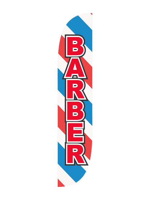Barber Feather Flag Barber Pole. Own a well estimated or newly opened barber shop? The 12ft Barber feather flag with barber pole design is the perfect way to bring customers into your new or existing barber shop! Let everybody know where to go for their next haircut or barber appointment with the barber pole feather flags. Sitting at 15ft tall when fully assembled, place these feather flags into the ground with the ground spike option or use the X-stand for hard surfaces